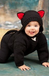 Make a precious homemade Halloween costume for your new bundle of joy. This adorable Baby Black Cat Costume is one of the cutest Halloween costumes weu0027ve ...  sc 1 st  AllFreeKnitting & Baby Black Cat Costume | AllFreeKnitting.com