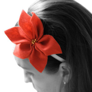 Easy Christmas Poinsettia Headband