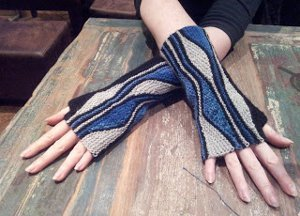 Blue Lightning Fingerless Mitts