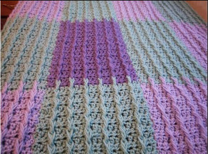 Lilac & Sage Raised Rib Crochet Blanket