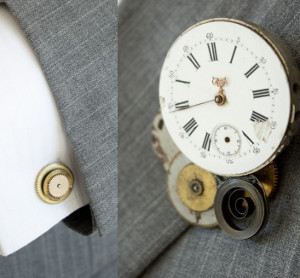 Steampunk Wedding Boutonniere and Cuff Links