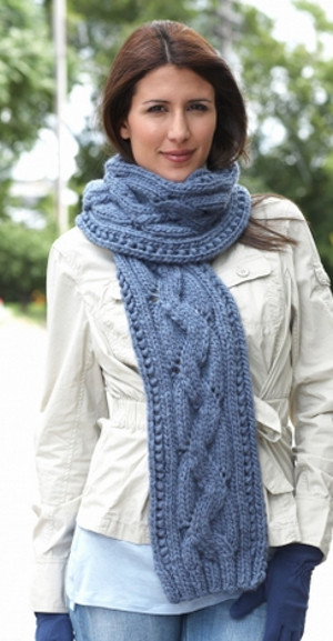 Basic Cable Scarf Allfreeknitting
