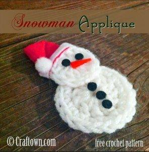 easy crochet snowman applique allfreecrochet com