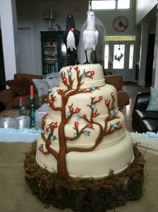 Rustic Love Birds Cake