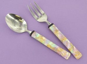 Mokume Gane Peacock Utensils