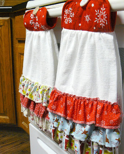 Ruffled Hanging Dish Towel