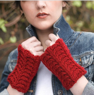 Cabled Velvet Fingerless Mitts
