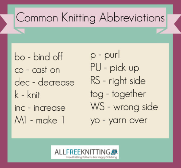Knitting Terminology Ssk : Common knitting abbreviations allfreeknitting