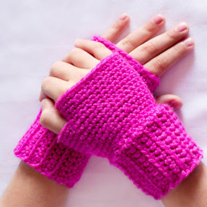 Pretty in Pink Fingerless Gloves