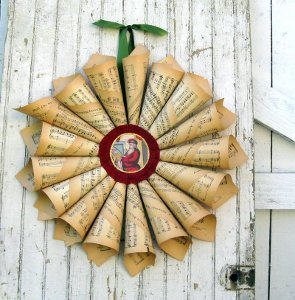 Stunning Vintage Music Paper Wreath