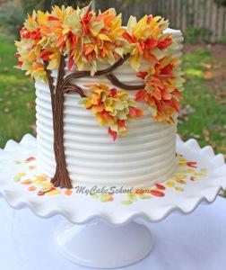 Autumn Leaves Wedding Cake Designs