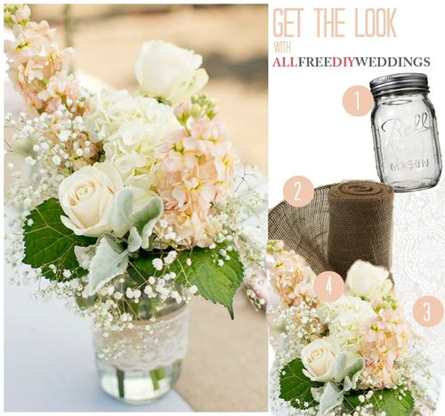 Lace and Burlap Mason Jar Centerpieces AllFreeDIYWeddingscom