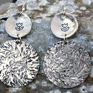 May Flowers Metal Stamped Earrings