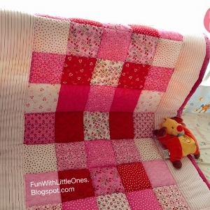 Pink Squares Patchwork Baby Quilt