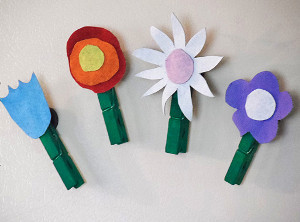 Flower Power Recycled Denim Magnets