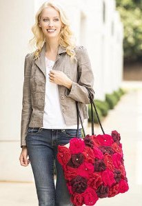 Smell Roses Crochet Tote