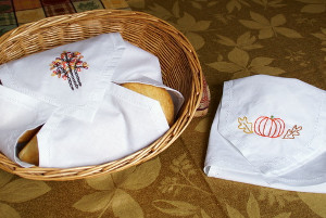 Vintage Embroidered Thanksgiving Bread Cloth