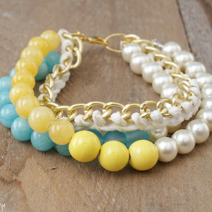 Luminous Leather and Pearl Bracelet