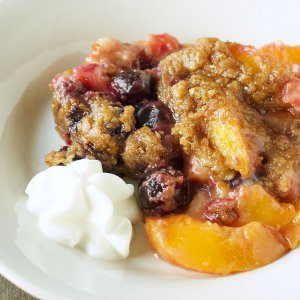 Sinfully Good Peach and Cherry Crumble