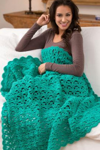 Lacy Turquoise Fan Throw