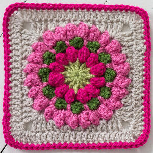 Popcorn Stitch Bloom Square