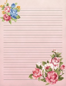 Vintage Blooms Printable Stationery  Lined Stationary Paper