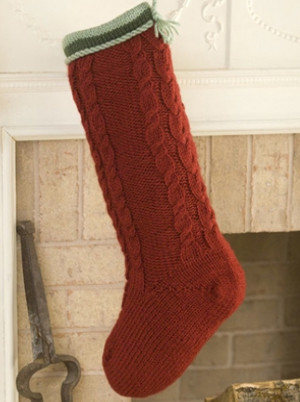 Cabled Christmas Stocking Allfreeknitting