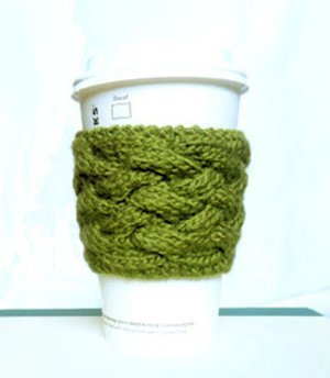 Woven Cable Coffee Cozy
