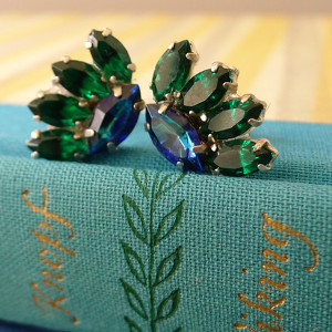 Emerald Green and Cobalt Blue Crystal Earrings