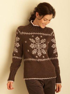 Festive Snowflake Sweater AllFreeKnitting.com