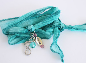 Bright Blue Silk Wrap Bracelets