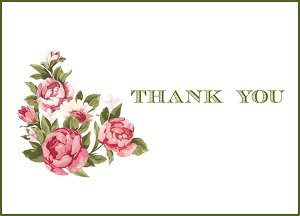 Vintage Flowers Printable Thank You Cards