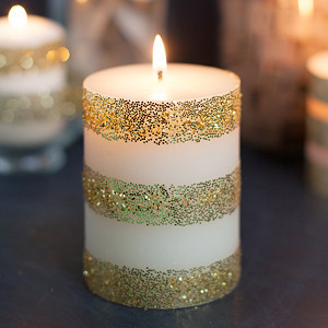 Glitter and Gold DIY Candles
