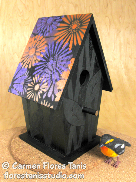 Stenciled Flowers Birdhouse