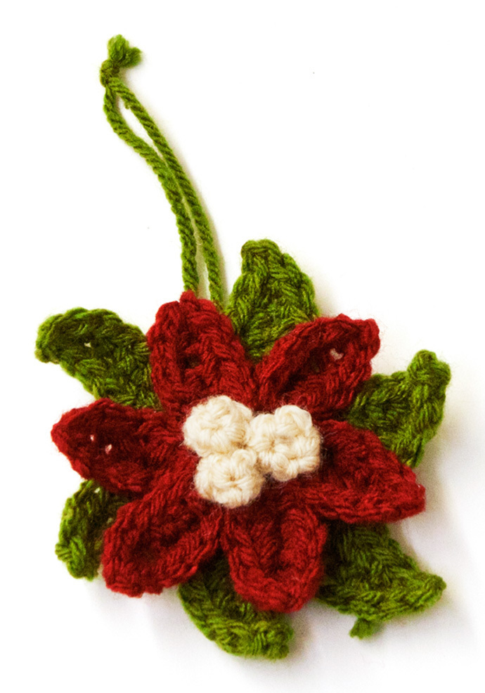 Crochet Poinsettia Ornament Allfreeholidaycrafts