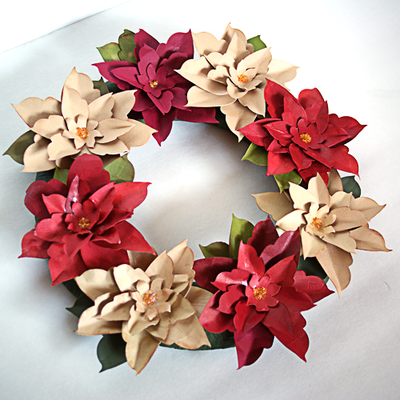 How To Make A Paper Poinsettia Wreath Allfreepapercrafts