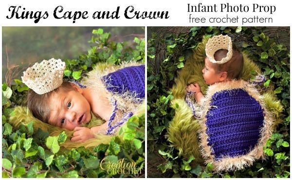 Free King Crown Crochet Pattern : Little Prince Baby Photo Props AllFreeCrochet.com