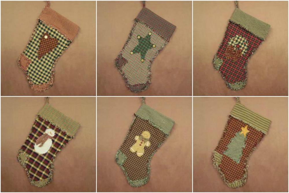 Ragged Homespun Christmas Stocking Kits and Patterns | FaveQuilts.com