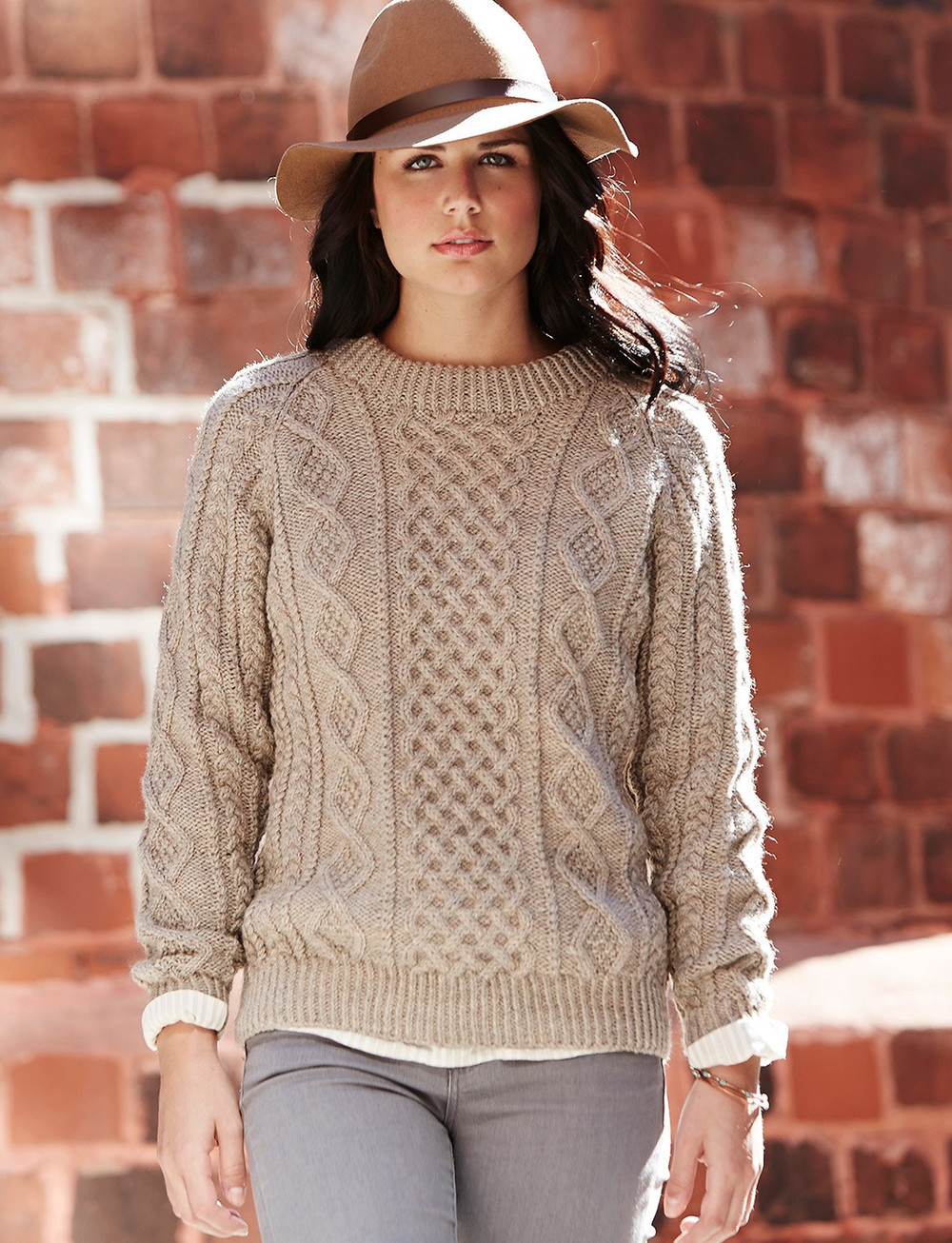 Oats and Honeycomb Cabled Pullover | AllFreeKnitting.com