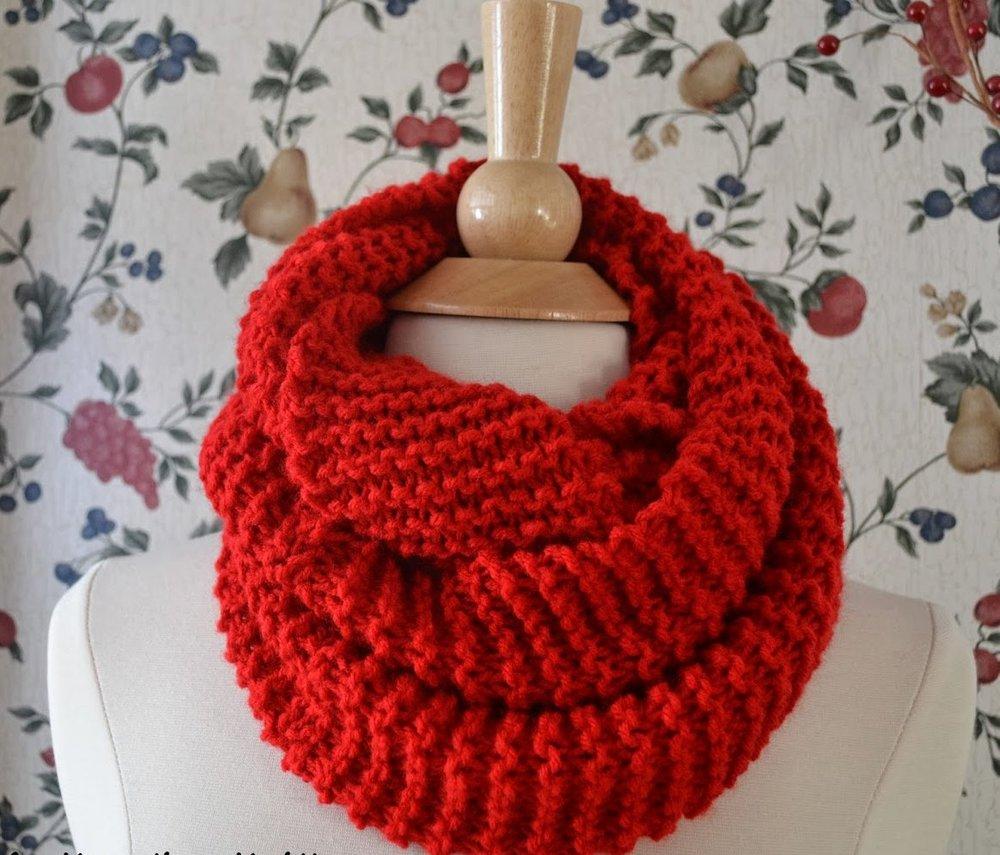 Basic Knit Infinity Scarf | AllFreeKnitting.com