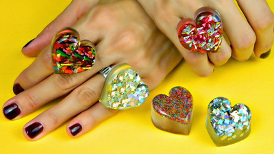 Glitter Heart Shaped Rings