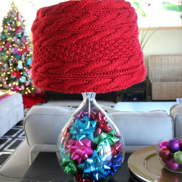 DIY Knit Scarf Lampshade | AllFreeHolidayCrafts.com