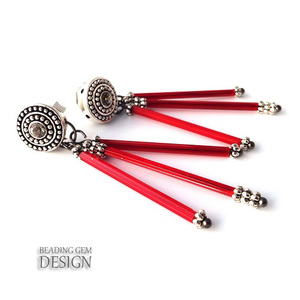 Red Triple Rod Earrings