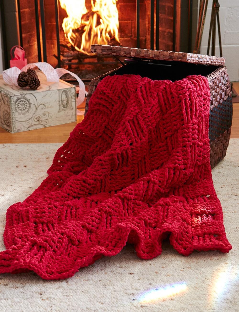 Basket Weave Afghan Crochet Pattern : Cranberry Basketweave Throw AllFreeCrochetAfghanPatterns.com