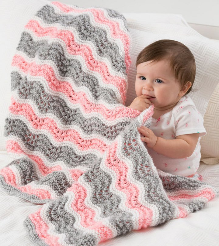Baby Girl Chevron Blanket | AllFreeKnitting.com