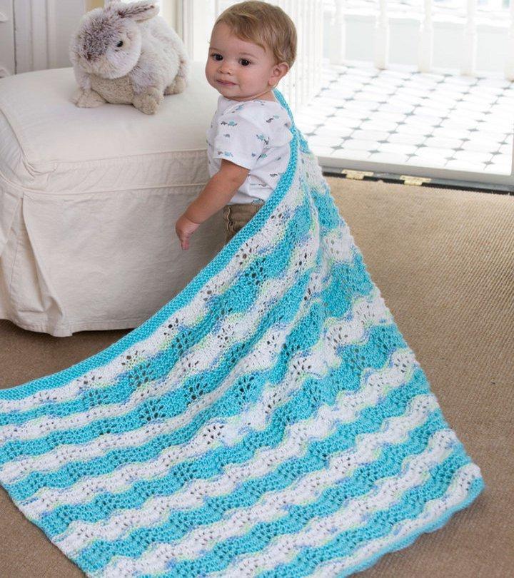 Baby Boy Chevron Blanket | AllFreeKnitting.com