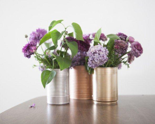 Simple Tin Can Wedding Centerpieces