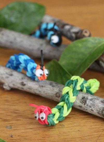 10 rainbow loom animals to make easy rainbow loom charms crazy cute rainbow loom caterpillars fandeluxe Images