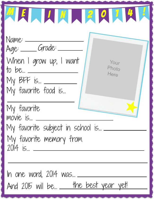 NYE All About Me Printable Worksheets | AllFreeKidsCrafts.com