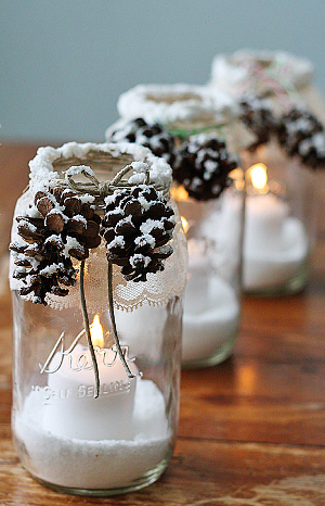 Wintry Pine Cone Mason Jars